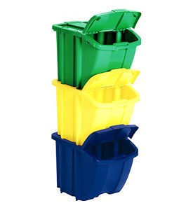 Stackable Recycle Bins (Set of 3) Image