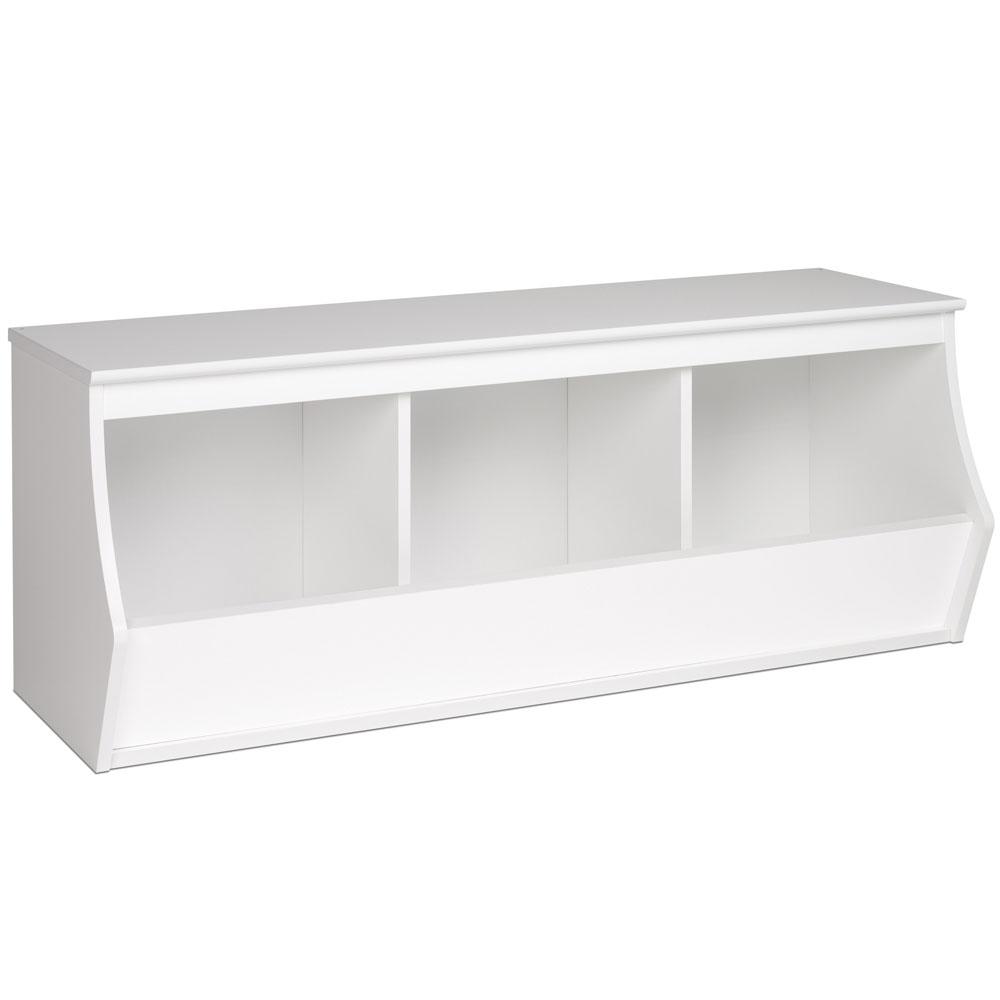 Soft White Kids Toy Chest Wood Box Bin Storage Organizer: Three Bin In Toy Storage