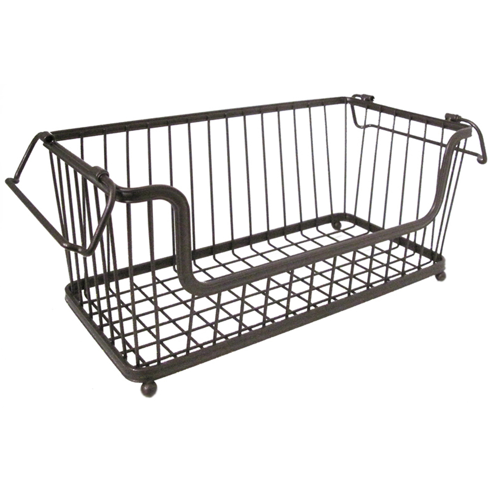 York Stackable Open Front Pantry Basket Bronze in Wire Baskets