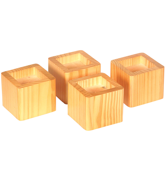 Stacking Wood Bed Risers - Natural Honey in Bed Risers
