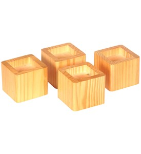 Stacking Wood Bed Risers - Natural Honey Image