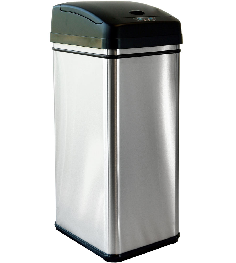Stainless steel automatic trash can in kitchen trash cans for Kitchen garbage cans