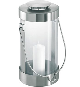 Stainless Steel Lantern with Candle Image
