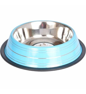 Stainless Steel Pet Bowl - Blue Stripe Image