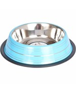 Stainless Steel Pet Bowl - Blue Stripe