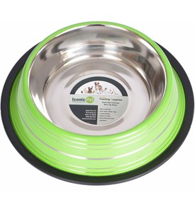 Stainless Steel Pet Bowl - Green Stripe Image