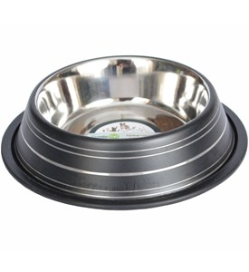Stainless Steel Pet Bowl - Black Stripe Image