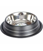 Stainless Steel Pet Bowl - Black Stripe