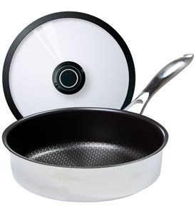 Stainless Steel Saute Pan with Lid - Black Cube Image