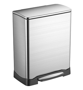 Stainless Steel Rectangular Trash Can Image