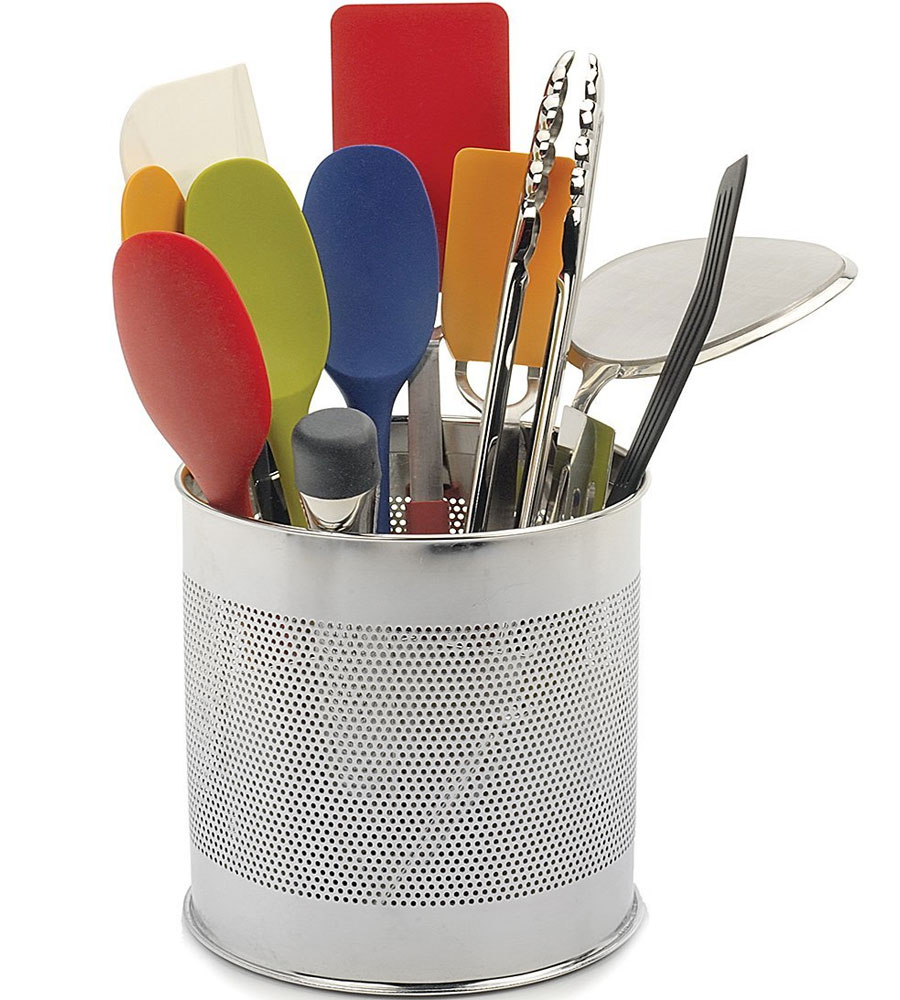 Stainless steel utensil caddy in kitchen utensil holders for Kitchen utensil holder