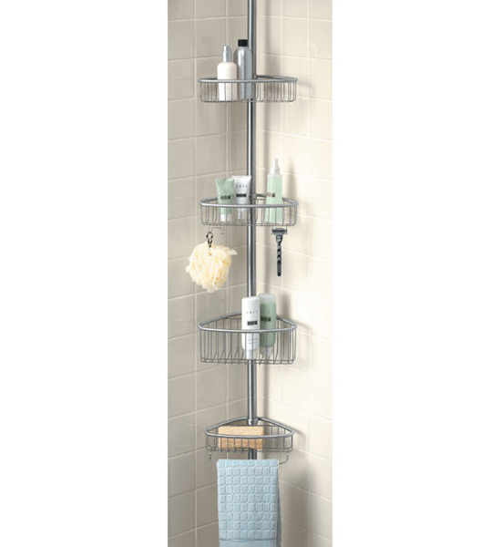 stainless tension pole shower caddy image