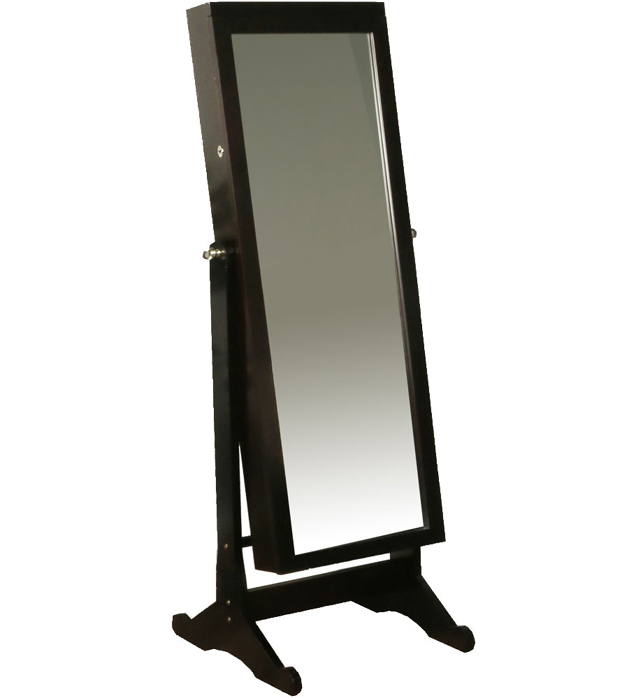 Floor standing bedroom mirror jewellery cabinet
