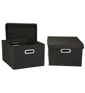 Storage Box Set - Collapsible - Black (Set of 2) Image