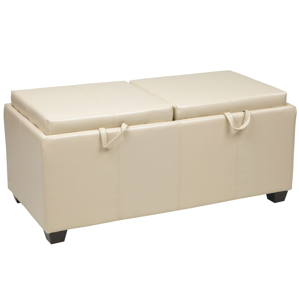 storage ottoman with dual trays in ottomans
