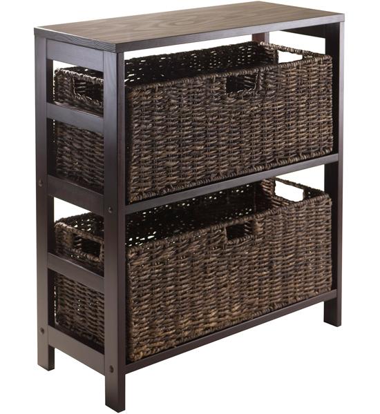 storage shelf with baskets in wicker baskets. Black Bedroom Furniture Sets. Home Design Ideas