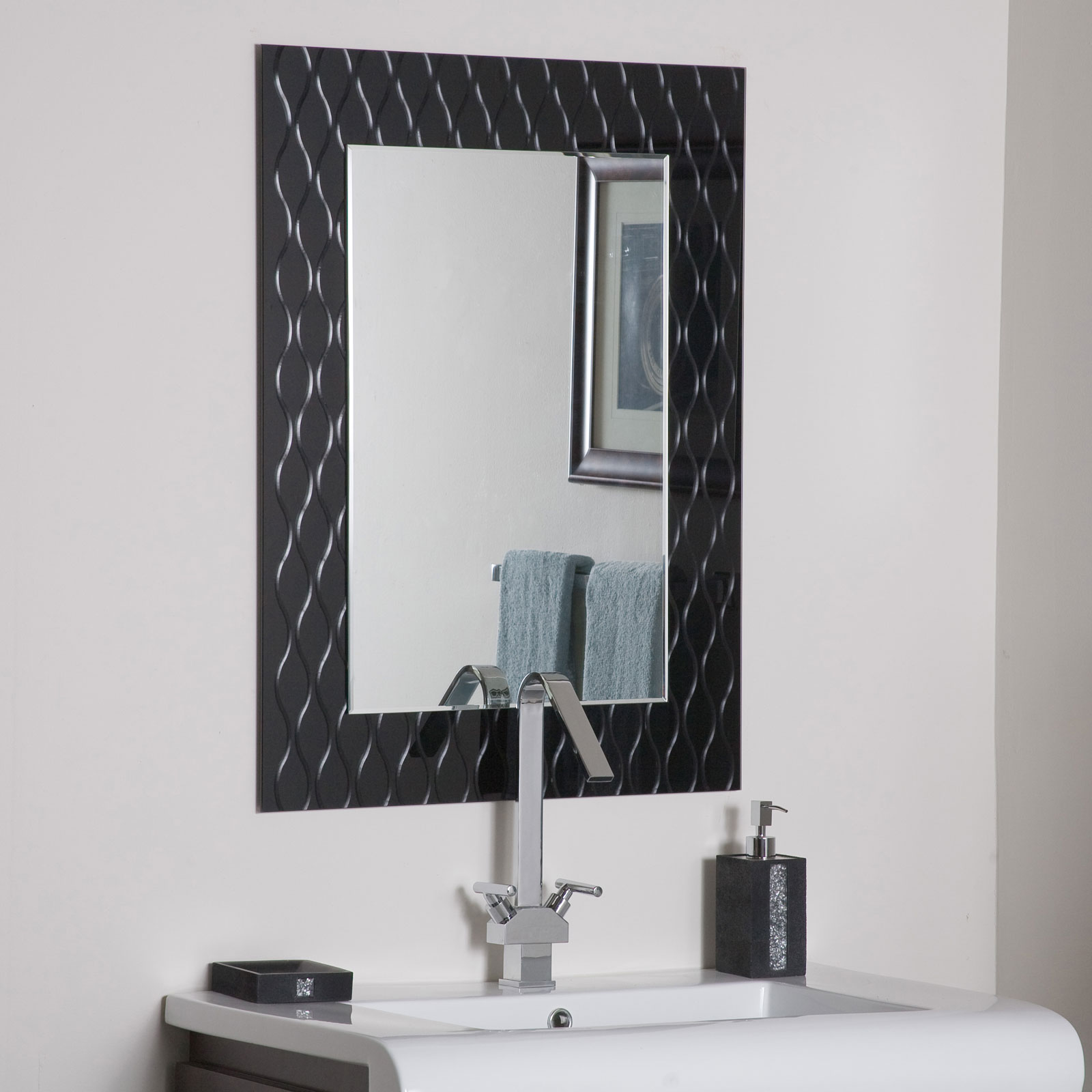 Strands Modern Bathroom Mirror By Decor Wonderland In Framed Mirrors