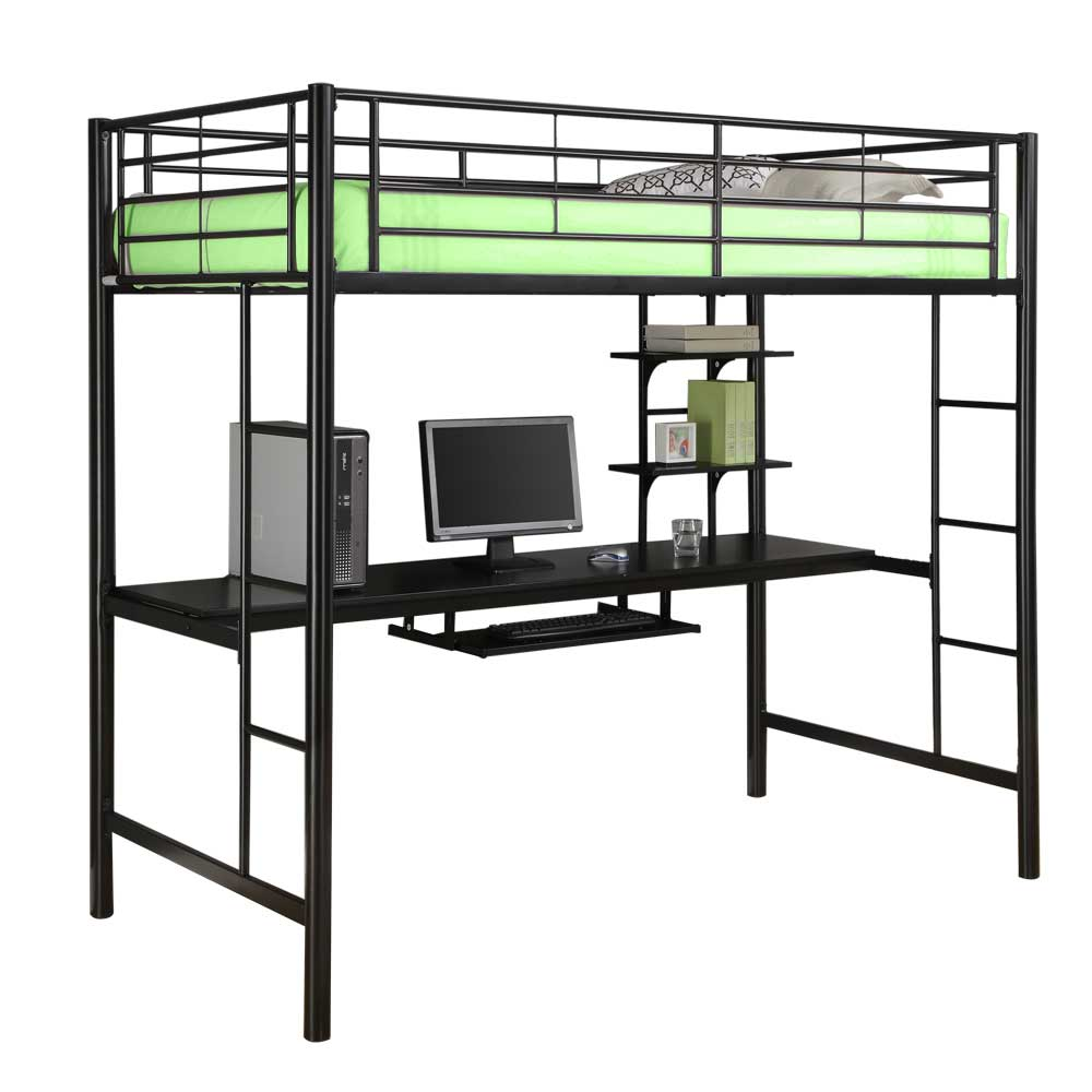 Metal Twin Loft Bed With Workstation In Bunk Beds