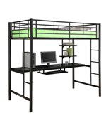 Metal Twin Loft Bed with Workstation