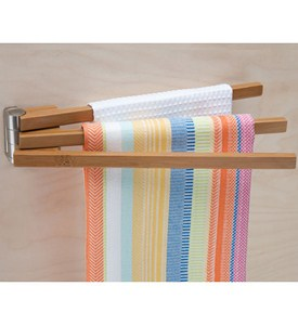 Bamboo Swing Arm Kitchen Towel Rack Image