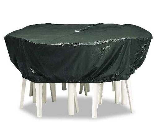 Reversible Round Vinyl Table Cover in Patio Furniture Covers