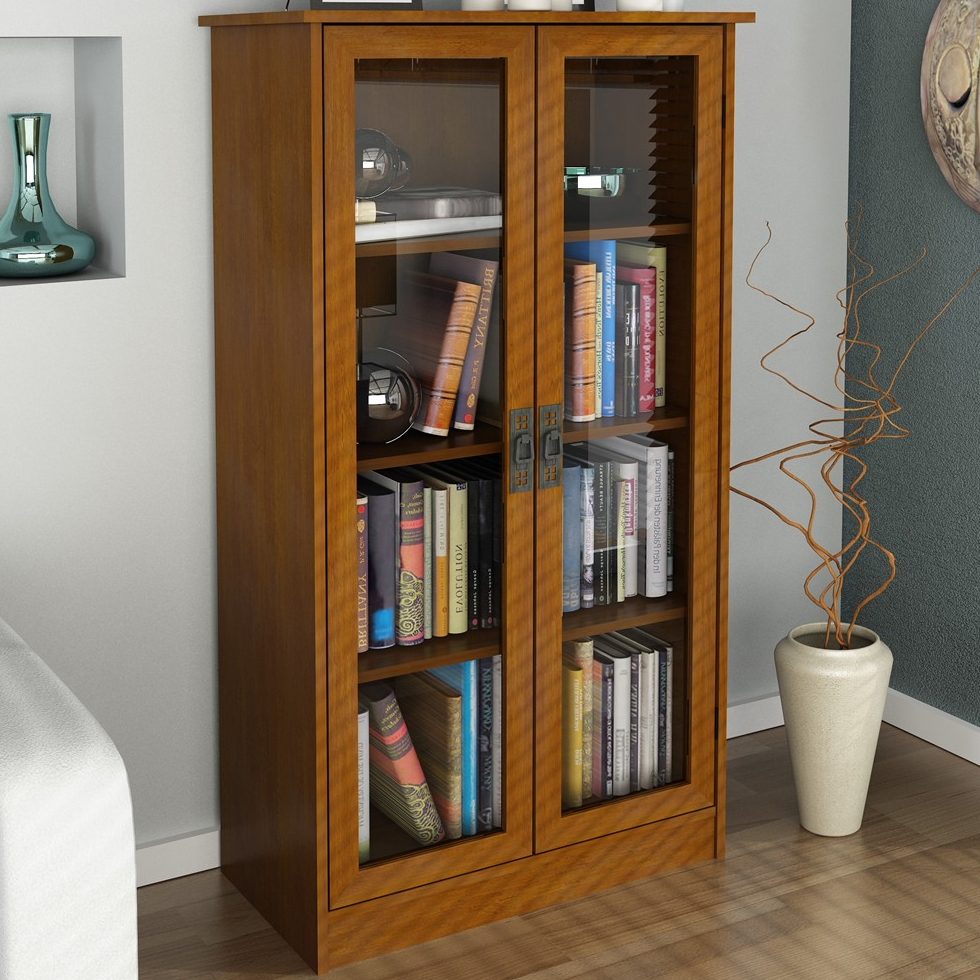 Glass Bookshelf Designs: Tall Bookcase With Glass Doors In Bookcases