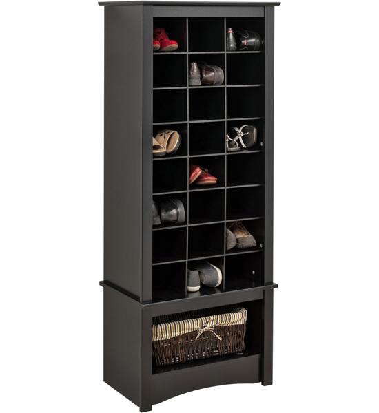 Black Tall Shoe Cubbie Cabinet