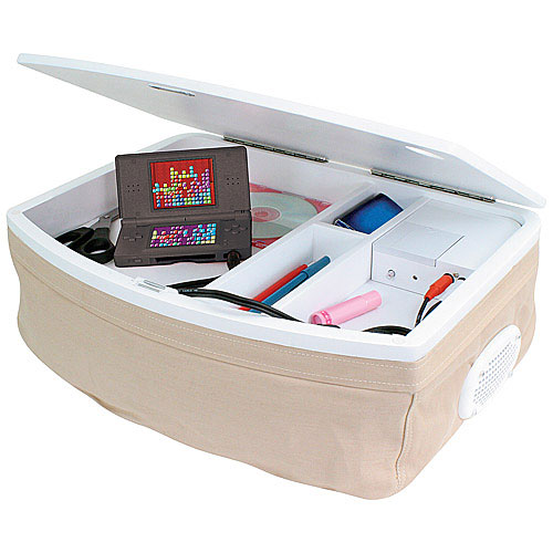 Storage Lap Desk With Ipod Speakers Tan In Lap Desks
