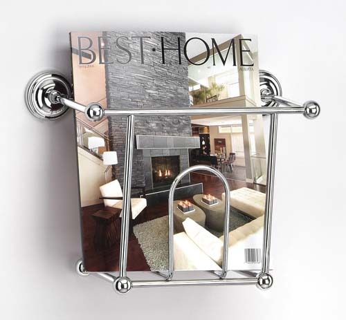 Chrome magazine rack in wall magazine racks for Magazine racks for home