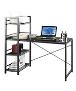 Techni Mobili Four Shelf Glass Work Desk by RTA Products