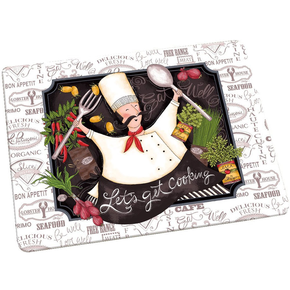 Tempered glass cutting board happy chef in cutting boards - Decorative tempered glass cutting boards ...