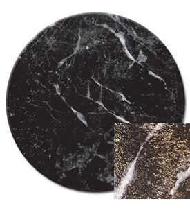 Tempered Glass Lazy Susan - Black Marble Image