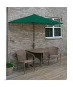 Terrace Mates Adena All-Weather Wicker in Coffee 7.5 Ft. Green SolarVista Set by Blue Star Group