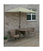 Terrace Mates Adena All-Weather Wicker in Coffee 7.5 Ft. Sunbrella Set by Blue Star Group