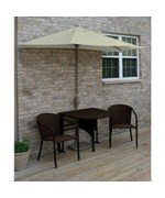 Terrace Mates Adena All-Weather Wicker in Java 7.5 Ft. Antique Beige Sunbrella Set by Blue Star Group