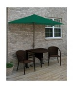 Terrace Mates Daniella All-Weather Wicker in Coffee 7.5 Ft. Green SolarVista Set by Blue Star Group