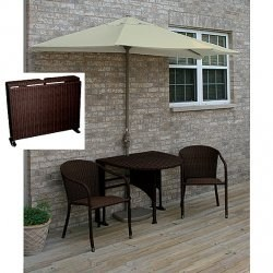 Terrace Mates Daniella All-Weather Wicker in Coffee 7.5 Ft. Olefin Set by Blue Star Group Image