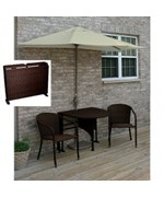 Terrace Mates Daniella All-Weather Wicker in Coffee 9 Ft. Sunbrella Set by Blue Star Group