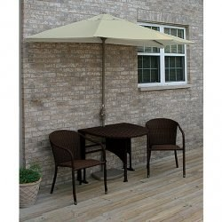 Terrace Mates Genevieve All-Weather Wicker in Coffee 9 Ft. Sunbrella Set by Blue Star Group Image