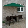 Terrace Mates Genevieve All-Weather Wicker in Java 7.5 Ft. Green SolarVista Set by Blue Star Group
