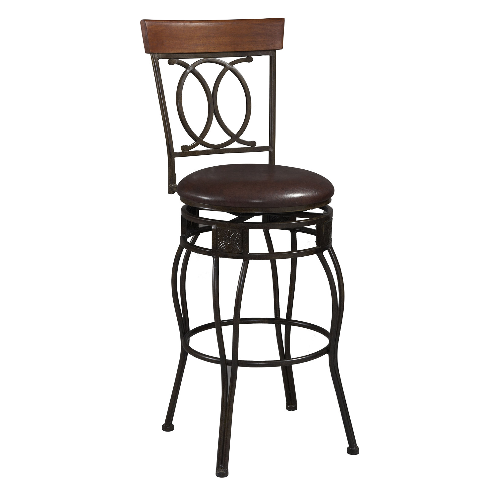 Matte Bronze Bar Stool With Back By Linon Home Decor In