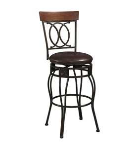 Matte Bronze Bar Stool with Back by Linon Home Decor Image