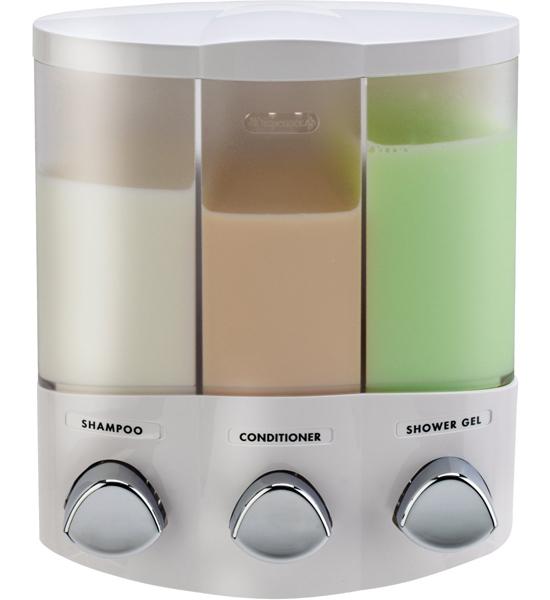 Three Compartment Corner Shower Dispenser White In Dispensers