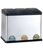 Three-Compartment Stainless Steel Recycle Bin