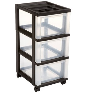 Three Drawer Storage Cart - Black Image