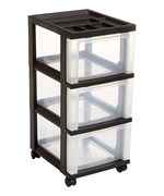 Three Drawer Storage Cart - Black