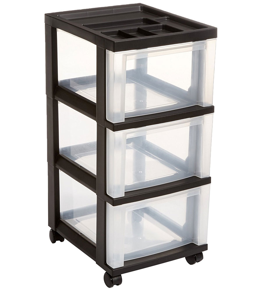 Three Drawer Storage Cart   Black