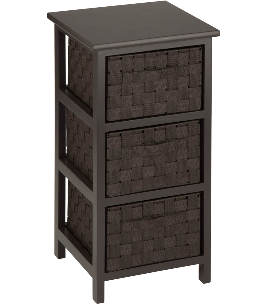 Three Drawer Storage Chest in Shelves with Baskets