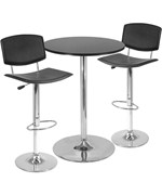 Three-Piece Black and Steel Pub Set