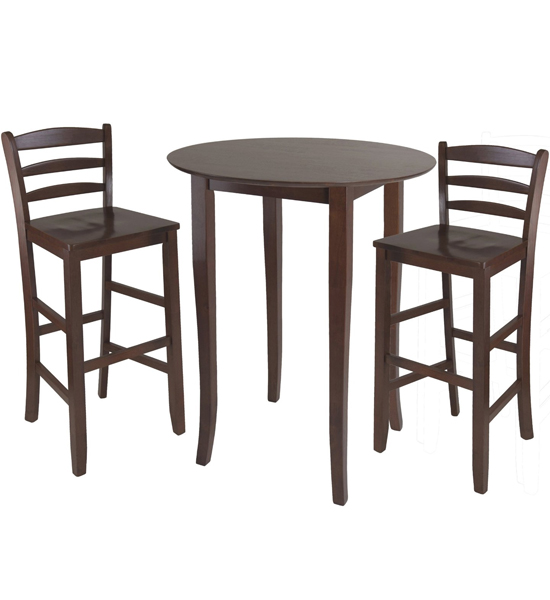 three piece high top dining table and chairs in bar table sets